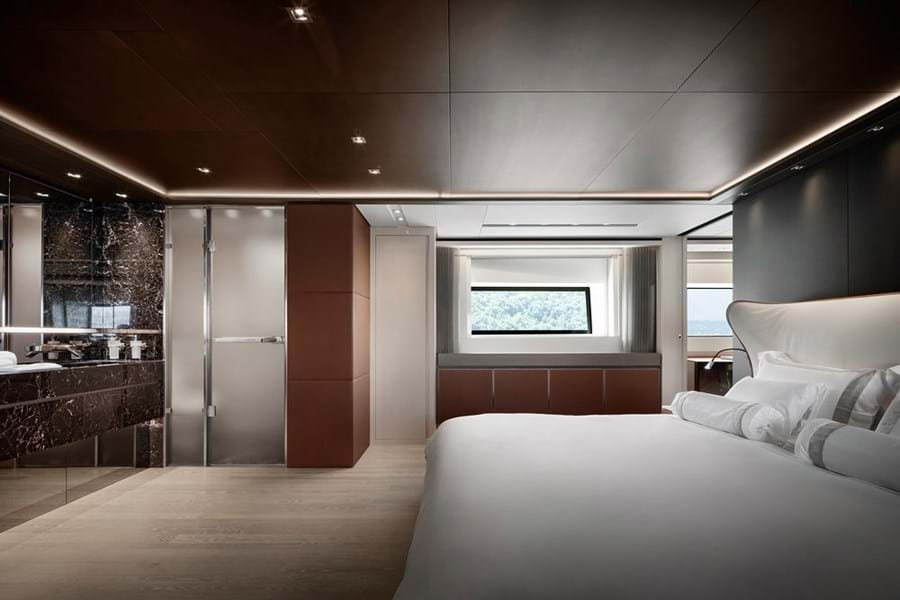 The cool, contemporary full beam main deck master suite