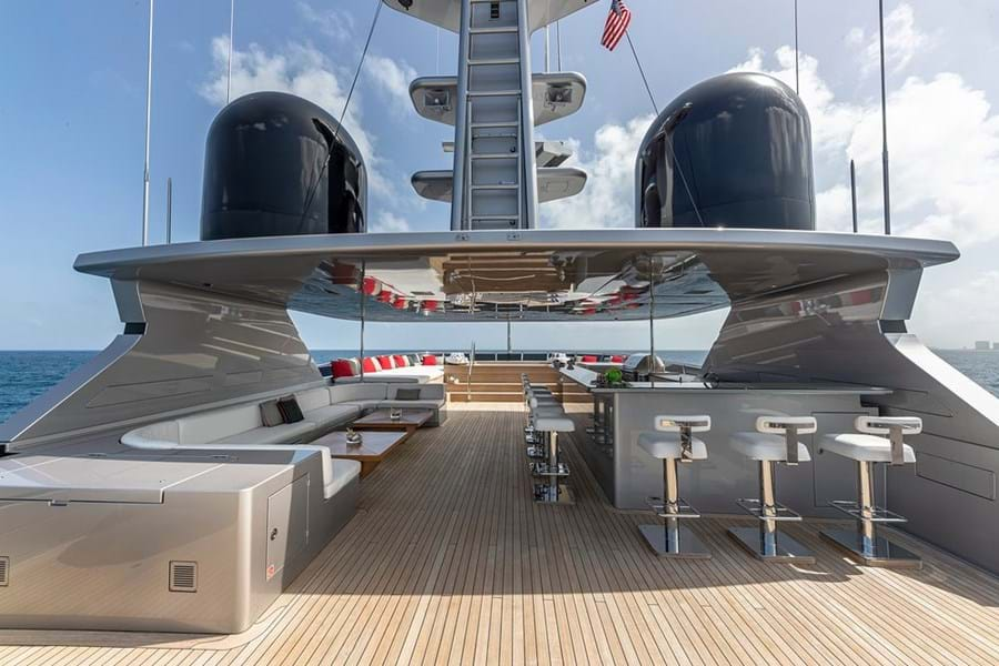 Sun deck bar, lounge, BBQ, jacuzzi forward and large versatile space aft