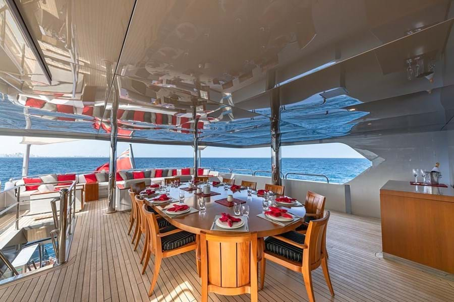 Open air dining on the upper deck aft
