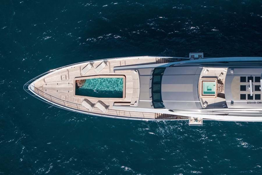 Jacuzzi on the sun deck and the foredeck pool doubles as storage for the 6.5m tender