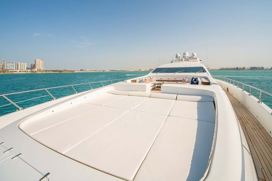 There's a spacious lounge and large sunpads on the yacht's foredeck