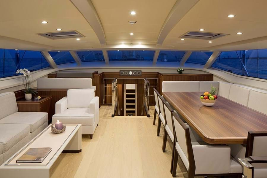 Her deck saloon offers 360 wraparound views