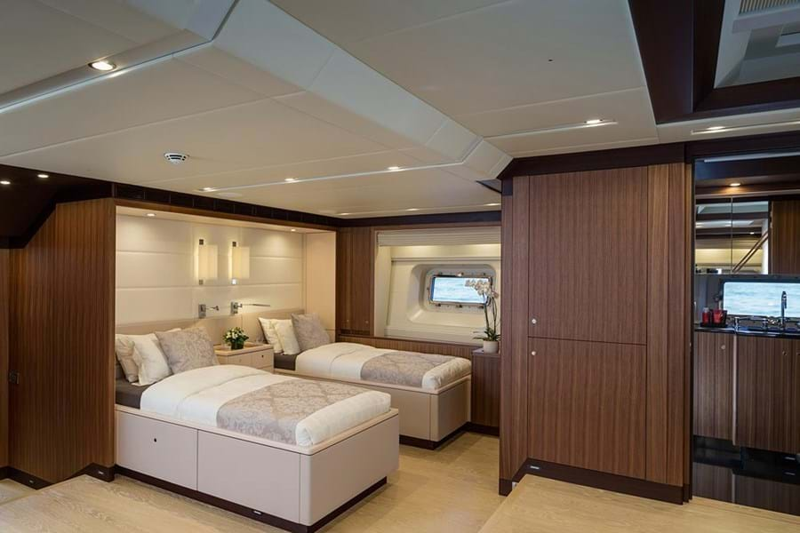 The full beam owner's suite has private access from the aft deck