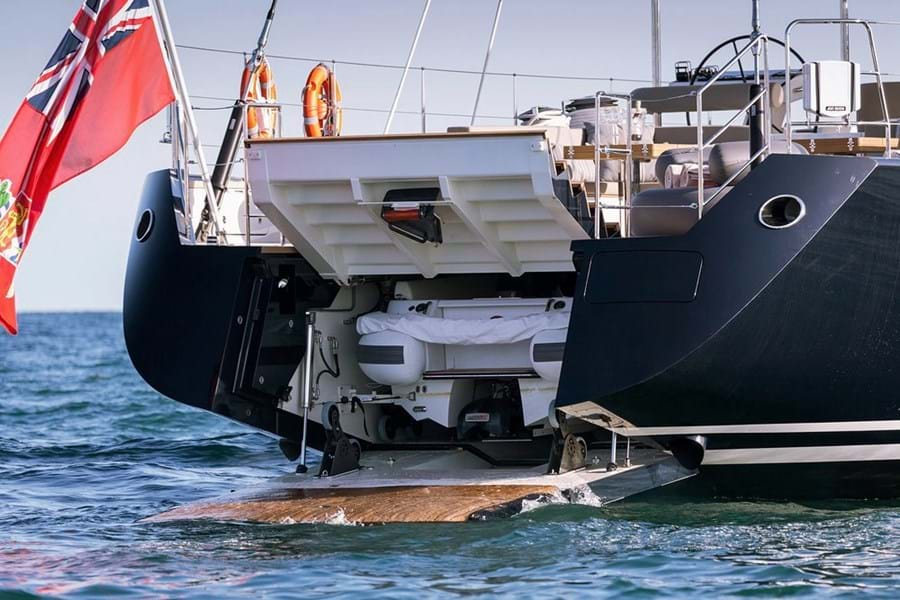 She has a tender garage for her 5.2m Castoldi jet tender