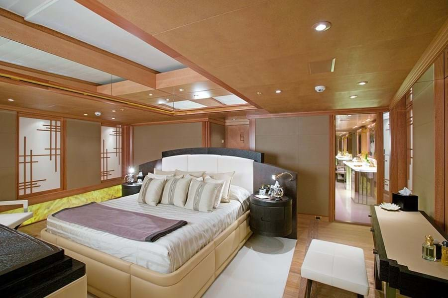 A large skylight runs the length of the owner's cabin