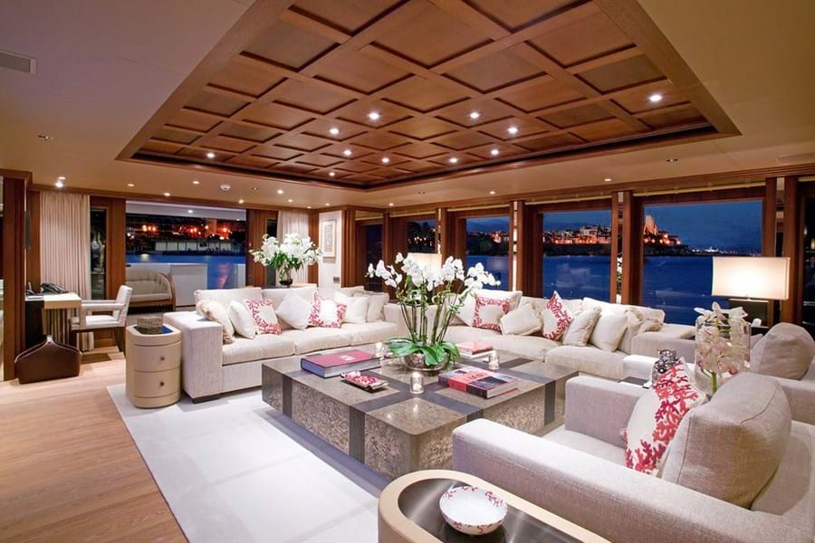 Looking aft in the wonderfully bright main saloon