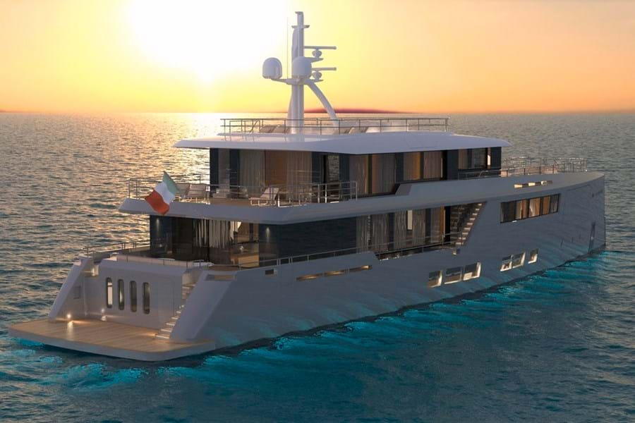 The master suite, on the upper deck facing aft, has its own private terrace