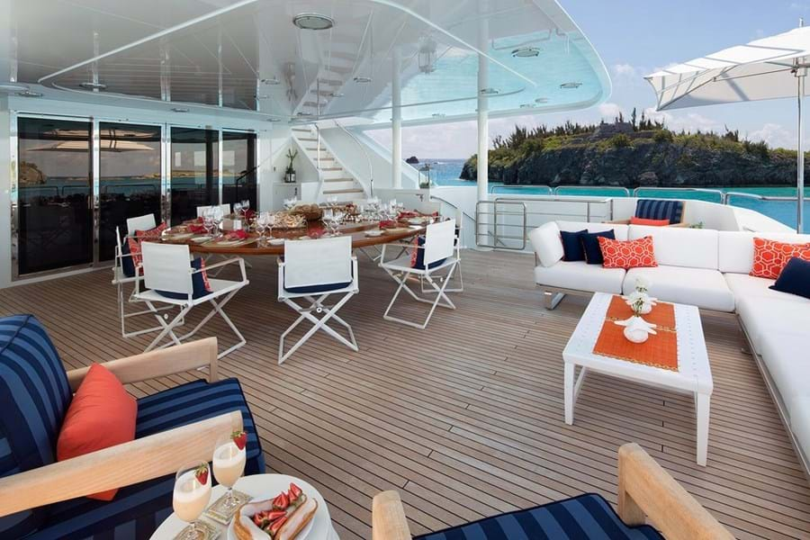 The upper deck aft's sun lounge and open air dining
