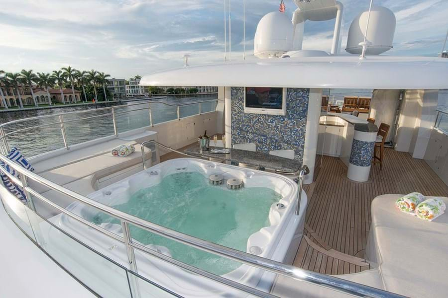 The large jacuzzi forward and elevator on the sun deck of this wheelchair friendly yacht
