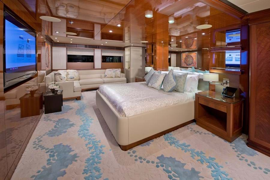 The full beam owner's suite forward on the main deck