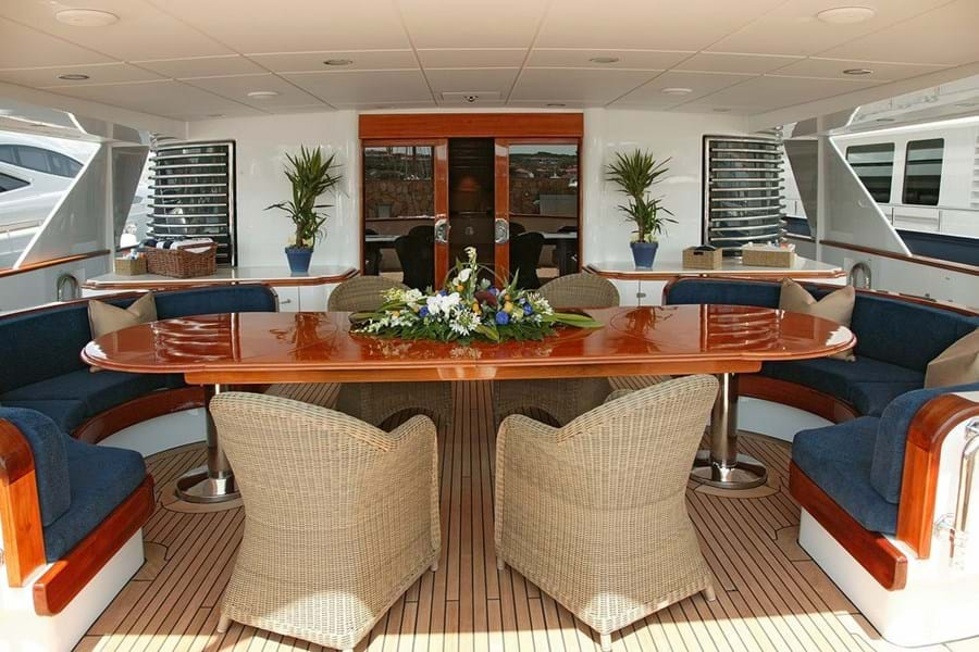 The spacious main deck aft, for lounging, dining and entertainment