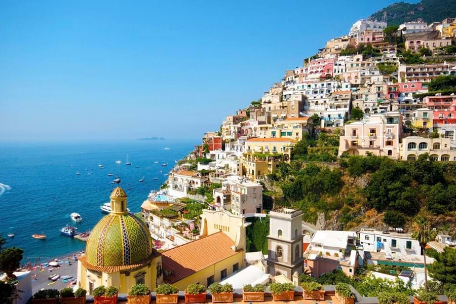 Beautiful views of Positano's Church of St Mary of the Assumption from the terrace of La Sirenuse
