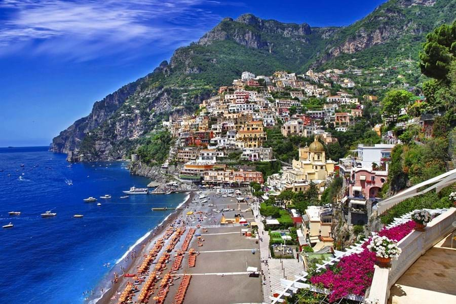 Positano's beach, the town's focal point, is a big attraction