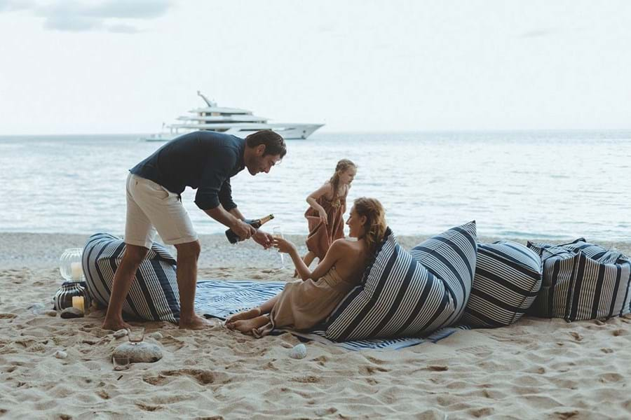 Enjoy Champagne on the beach