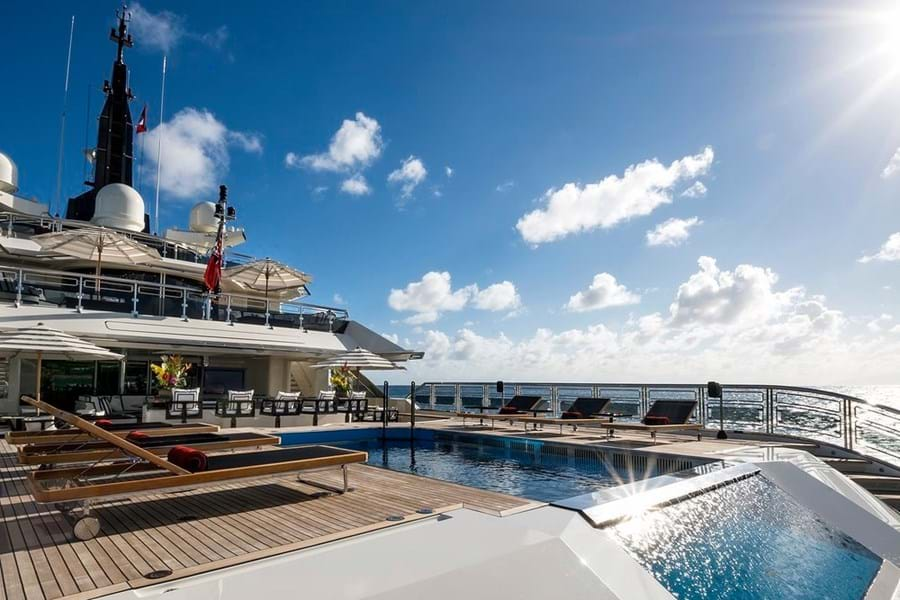 The game changing pool on the 82m Nuvolari Lenard-designed ALFA NERO, for charter with Burgess