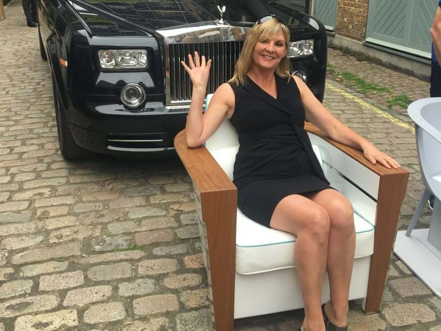 Pascale on one of the chairs built for LADY S by Tim Gosling of London