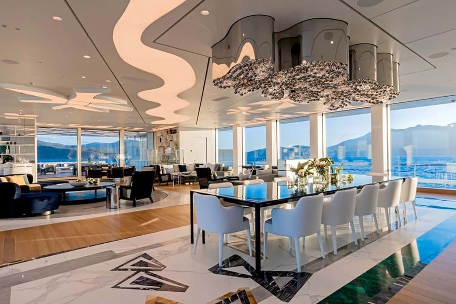 The 107.6m LUMINOSITY showcases the modern use of glass. She was designed by Zaniz Jakubowski Design, built by Benetti, project managed by Burgess New Construction, and is for sale with Burgess
